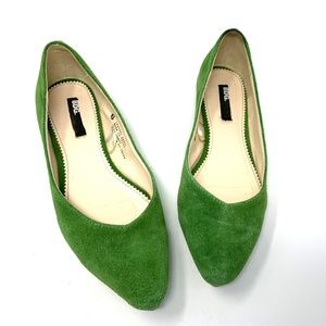 BDG Lime Green Suede Flats US Size 6 Pointed Toe